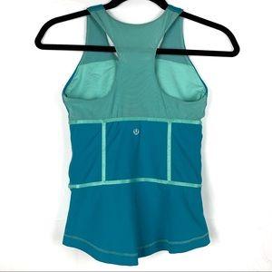 lululemon athletica Tops - Lululemon Sirsa Tank Blue Teal Racerback Zip Sides